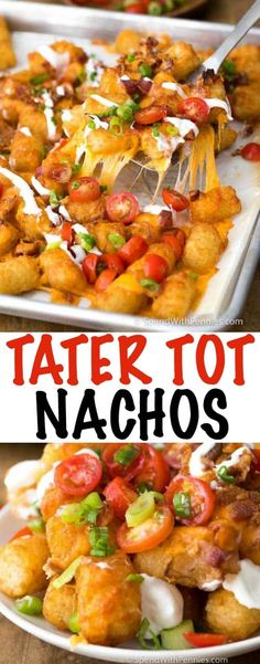 Tater Tot Nachos have crispy Tater Tots smothered in melted cheddar cheese and bacon. This delicious snack, inspired by a dish at one of my all time favorite restaurants, takes just minutes to prepare and everyone LOVES it. Tater Tot Nachos, Loaded Tater Tots, Tater Tot Casserole, Pasta Side Dishes, Side Dishes Easy, Main Dishes, Tater Tot Recipes, Casserole Recipes, Potato Recipes