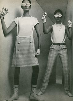 Space Age Fashion- Featured clean, tailored clothing with geometric shapes and cutouts. Made famous by André Courrèges, Pierre Cardin, and Emanuel Ungaro.