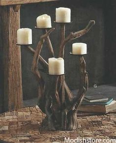 With their organic shapes and intriguing coloration, Roost Dark Driftwood Candelabra can easily be the talk of any party. Pieces of hand-selected dark driftwood are strategically placed to create our Driftwood Furniture, Driftwood Lamp, Driftwood Projects, Driftwood Ideas, Pillar Candle Holders, Candle Sconces, Pillar Candles, Candels, Eclectic Candles