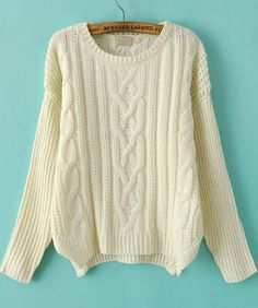 Shop Coffee Round Neck Long Sleeve Cable Knit Sweater online ...