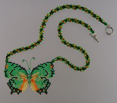 Green Leafwing Butterfly necklace by WizardIslandDesigns on Etsy