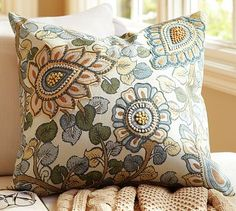 "Geena Madhubani Floral Embroidered Pillow Cover -  20"" square - Made of pure cotton.   Reverses to solid ivory.  #potterybarn"