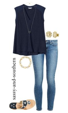 """cute outfit"" by sassy-and-southern ❤ liked on Polyvore featuring moda, Paige Denim, Rebecca Taylor, My Name Necklace, Sole Society, Kate Spade y Jack Rogers by margret"