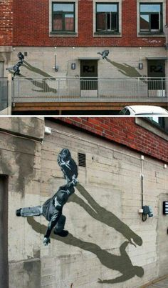 3D Street Art. Walking on Walls. Exceptionally clever Wall Mural. Artist Unknown. #streetart #graffiti #3D