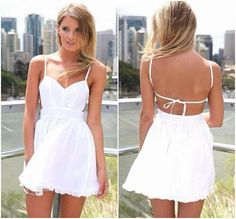 Spaghetti Strap White A Line Mini Dress on Luulla