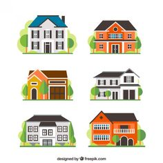 Variety of houses Free Vector