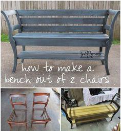 Deux chaises transformées en banc