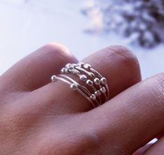 Simply Skinny Spinnerette Rustic Organic Sterling Silver Stacking Rings