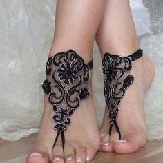 Plage noire argent  mariage sandales aux pieds nus, sandales dentelle gothiques