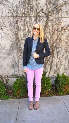 colored denim + chambray + blazer