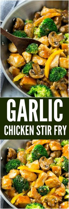 #Garlic #chicken stir fry is a quick and easy dinner that's perfect for those busy weeknights. Cubes of chicken are cooked with colorful veggies and tossed in a flavorful garlic sauce for a meal that's way better than take out!