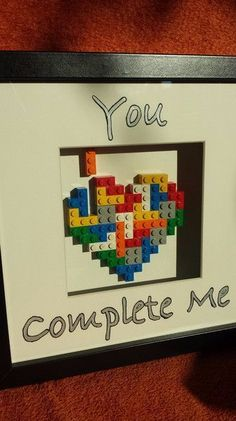 """Picture Frame - """"You Complete Me"""" Lego Te . Bilderrahmen – """"You Complete Me"""" Lego Te… Picture Frames – """"You Complete Me"""" Lego Tetris Heart Picture Frame – a unique product by francesblue on DaWanda Diy Crafts For Gifts, Crafts For Girls, Gifts For Kids, Photo Lego, Diy Lego, Diy Cadeau, You Complete Me, Heart Pictures, Diy Tattoo"""