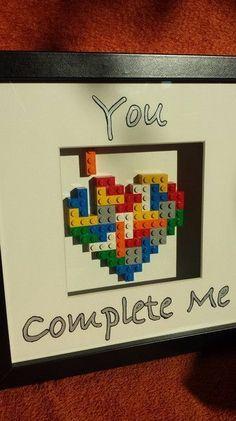 """Bilderrahmen - """"You Complete Me"""" Lego Tetris Heart Bilderrahmen - ein Designerstück von francesblue bei DaWanda"""
