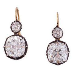 Victorian Diamond Two-Stone Gold Silver Earrings circa 1880