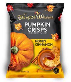 상품명 이미지 Packaging Snack, Beverage Packaging, Brand Packaging, Packaging Design, Pumpkin Crisp, Cute Business Cards, Honey And Cinnamon, Cookies Et Biscuits, Label Design