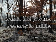 """Morals are private. Decency is public."" - Rita Mae Brown   Photo: Winter day, Brown County, Indiana."