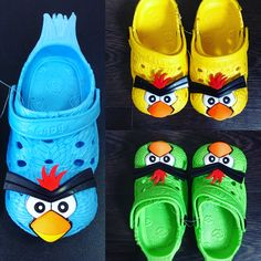 Angry birds shoes for kids in different sizes and colors