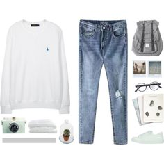 A fashion look from September 2015 by intanology featuring Polo Ralph Lauren, Topshop, Herschel, L.G.R, Maison Scotch, Crate and Barrel y Polaroid