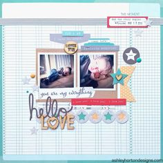 #papercraft #scrapbook #layout. Ashley Horton Designs: Hello Love & Echo Park/Top Dog Dies Blog Hop WINNER!