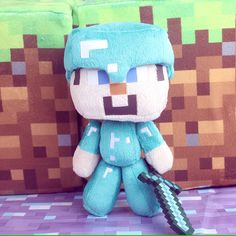 Minecraft Steve Plush Toy Stuffed Doll Pilllow Mine craft Steve With Diamond Sword, $27.99
