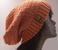 Kitty Cat Hat  Coral Womens Mens Crochet Slouch Hat by niseylee, $35.00
