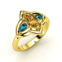 Marquise Citrine 18K Yellow Gold Ring with London Blue Topaz - Zada Ring | Gemvara