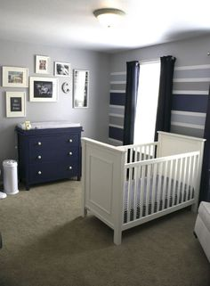 Blue and Gray Striped Classic Baby Boy Nursery - darling design!