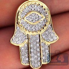 Custom made mens 10k yellow gold 290 ct diamond luxury rolls 10k yellow gold 086 ct diamond hamsa hand mens pendant medium size aloadofball Choice Image