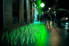In an effort to draw attention to problems within the city of Madrid, anonymous artist collective Luzinterruptus produces site-specific light installations
