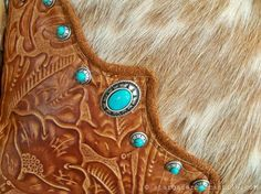 Tan tooled #leather caps, palomino hair-on cowhide #fur, sterling and turquoise conchos, combine to make this #Western #pillow a must-have! Description from pinterest.com. I searched for this on bing.com/images