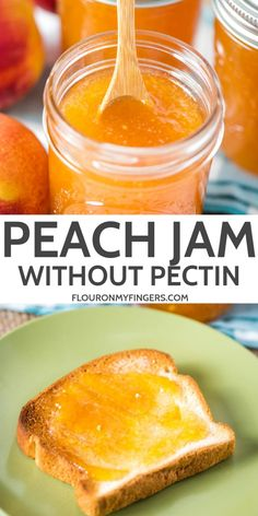 How to make delicious homemade peach jam with no pectin. Perfect for canning or the freezer, enjoy this simple, 2 ingredient recipe on toast or biscuits. Peach Puree, Peach Jam, Canning Peaches, Jelly Recipes, Fruit Recipes, Drink Recipes, Healthy Recipes, Canning Recipes, Canning Tips