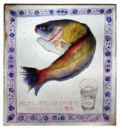 """Watercolor """"Pesce persico fuori da un bicchiere d'acqua"""", 50x50 su carta Fabriano 640 gr."""