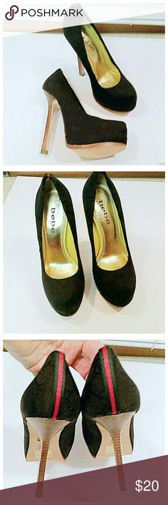 """Bebe black red stripe high heels In excellent condition. Leather sole.  Black material is textured. 5"""" heels bebe Shoes Heels"""