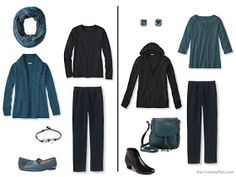How to wear teal and black together