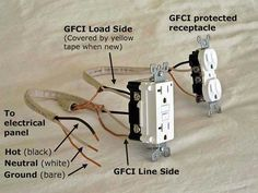 Standard outlets can be GFCI protected from a GFCI outlet. These diagrams show you how. Installing Electrical Outlet, Basic Electrical Wiring, Electrical Projects, Electrical Installation, Electrical Outlets, Electrical Inspection, Electronics Projects, 3 Way Switch Wiring, Outlet Wiring