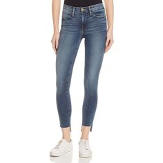 Frame High Skinny Raw Stagger Jeans in Woodhaven ($250) ❤ liked on Polyvore featuring jeans, woodhaven, frame jeans, skinny fit denim jeans, frayed hem skinny jeans, denim jeans and blue jeans