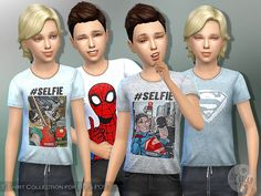 The Sims Resource: T- Shirt Collection for Boys P09 by lillka • Sims 4 Downloads