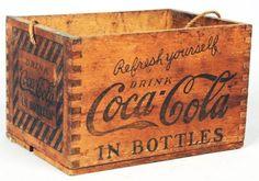 Coca Cola Wooden Dovetailed Carrier: - Coca Cola - Idea of Coca Cola Coca Cola Ad, Always Coca Cola, World Of Coca Cola, Coca Cola Bottles, Pepsi, Vintage Crates, Vintage Coke, Old Crates, Wooden Crates