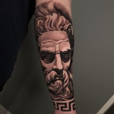 Black and grey realistic sleeve arm tattoo of neptune portrait, the Roman God of water and the sea, best London, UK Portrait Tattoo Sleeve, Leg Sleeve Tattoo, Leg Tattoo Men, Full Sleeve Tattoos, Cover Up Tattoos, Tattoo Sleeve Designs, Tattoo Designs Men, Arm Tattoo, Zeus Tattoo