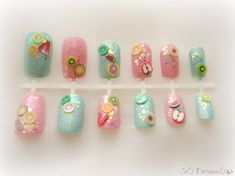 Sweet pastel fruit nails Japanese nail art set by celdeconail