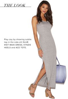 We're always bumping into an ex or an old classmate at inopportune times, so we dress to impress even for running errands in the side-slit Slub Knit Maxi Dress.