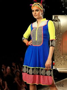 Latest Ladies Tunics, Full yellow Sleeve blue Kurti