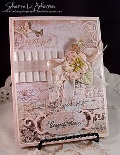Vintage inspired wedding card using product by Prima,May Arts, JustRite and Our Daily Bread Designs for The Stamp Simply Ribbon Store.