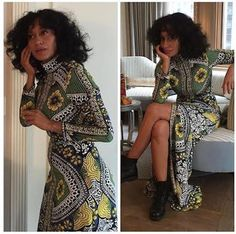 Splurge: Tracee Ellis Ross's Instagram Naeem Khan Spring 2016 Floral Print High Neck Long Sleeve Front Center Slit Tunic Gown