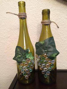 Grape Wine Bottle Set by CrazyCraftersFun on Etsy Wine Bottle Candles, Empty Wine Bottles, Painted Wine Bottles, Recycled Bottles, Wine Bottle Crafts, Liquor Bottles, Wine Craft, Glitter Wine Bottles, Wine Bottle Corks