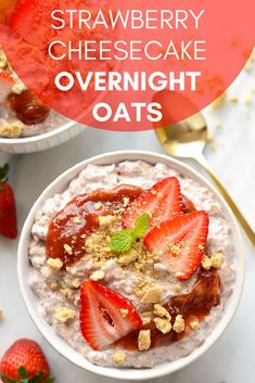 We love this healthy and filling breakfast recipe. We�re talking dessert for breakfast in this Strawberry Overnight Oats recipe. It uses Greek yogurt, almond milk and strawberries and is super easy to make. Just throw it in your food processor and puree.
