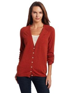 Fred Perry Women's V-Neck Cardigan, Chilli, 8US/12UK « Impulse Clothes