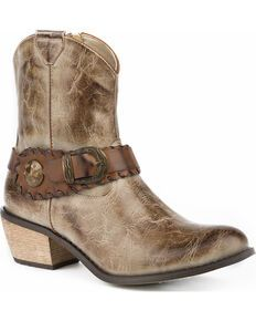Roper Women's Brown Selah Booties - Round Toe - Country Outfitter Kids Western Boots, Womens Cowgirl Boots, Ankle Cowboy Boots, Kids Boots, Western Cowboy, Cowboy Boot Store, Roper Boots, Boots Store, Boots