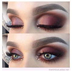 Burgundy eye makeup for blue eyes with nice details ❤ liked on Polyvore featuring beauty products, makeup, eye makeup and eyes