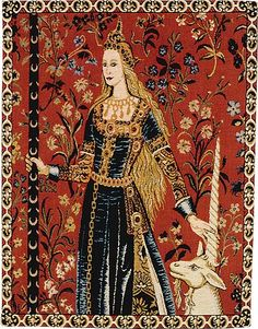 One of the famous six tapestries in the 'The Lady with the Unicorn' series. Woven in about 1511 they feature the arms of Jean le Viste. Each represents one of the senses except for the final 'A Mon Seul Desir'. These 12' high masterpieces were lost until 1844 when the novelist Georges Sands discovered them in Boussac suffering from damage from rats and damp walls. The Cluny Museum in Paris purchased them in 1853, later restoring them. They are now amongst the national treasures of France…